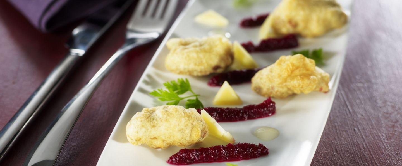 Recette d 39 hu tres cuites en tempura et mulsion de betterave - Cuisiner des betteraves rouges ...