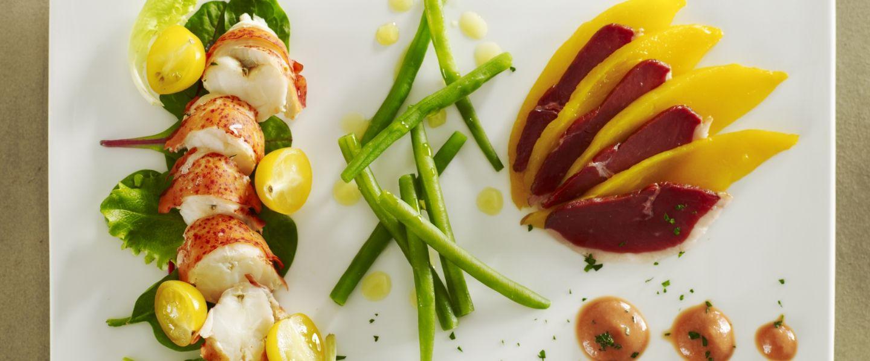 recette de salade d 39 homard ti de et haricots verts julienne de mangue. Black Bedroom Furniture Sets. Home Design Ideas